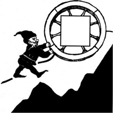 Гном, катящий в гору огненное колесо